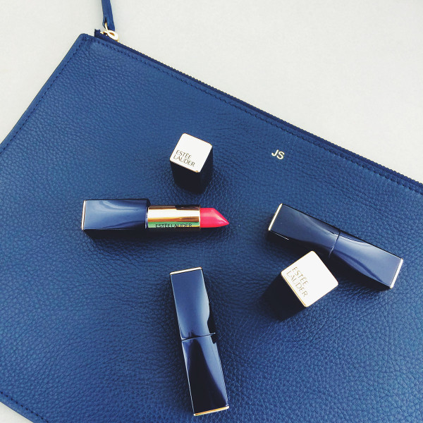 Estee Lauder Lipstick with Navy Blue and Gold Monogrammed Clutch