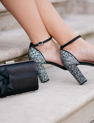 Black Bow Clutch for the Holidays and Black Glitter Heel Pumps