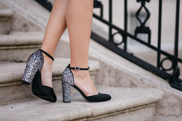 Black and Silver Glitter Heel Ankle Strap Pumps