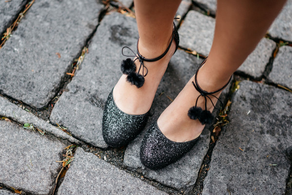 Bows & Sequins styling a pair of Kate Spade glittery pom-pom heels for the holiday season!