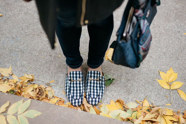 Bows & Sequins wearing a pair of gingham Gucci laofers.