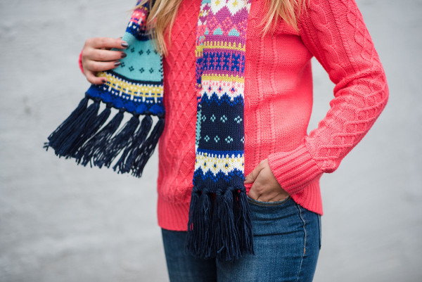 Bows & Sequins styling bright colors for the winter... A neon pink sweater with a multicolor fair isle scarf.
