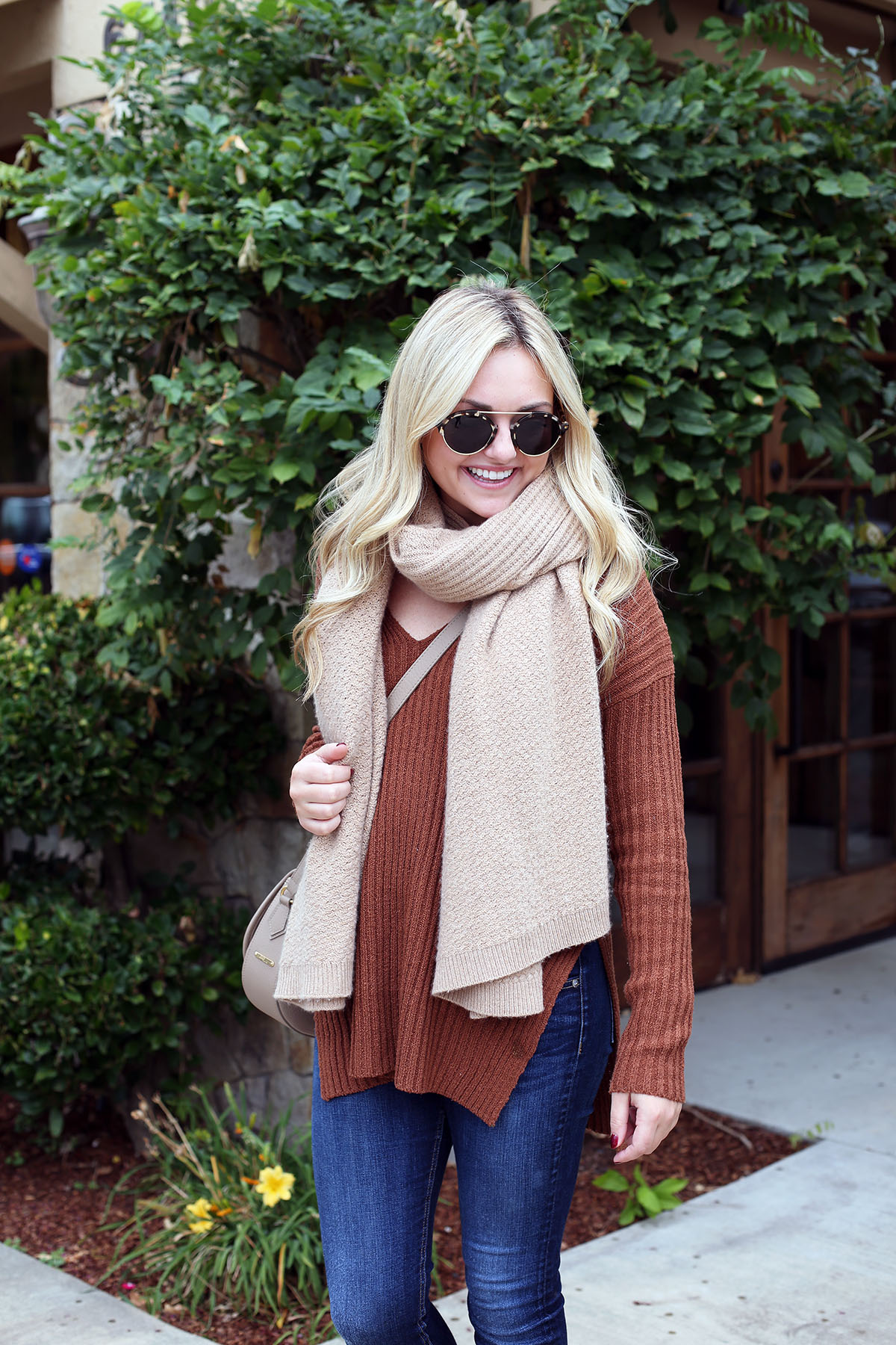 Bows & Sequins wearing a cashmere blanket scarf in Napa.