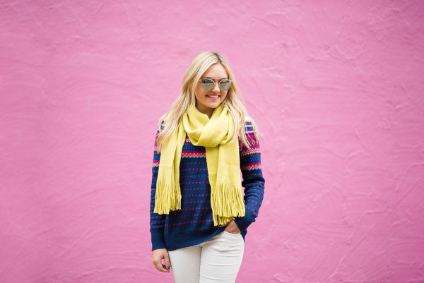 Bows & Sequins styling a pair of winter white corduroy pants with a fair isle sweater and bright scarf.