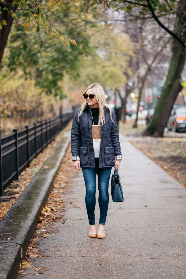 Bows & Sequins styling her Thanksgiving Day Duds: a navy Barbour jacket, a striped sweater, dark denim, and cognac suede pumps.