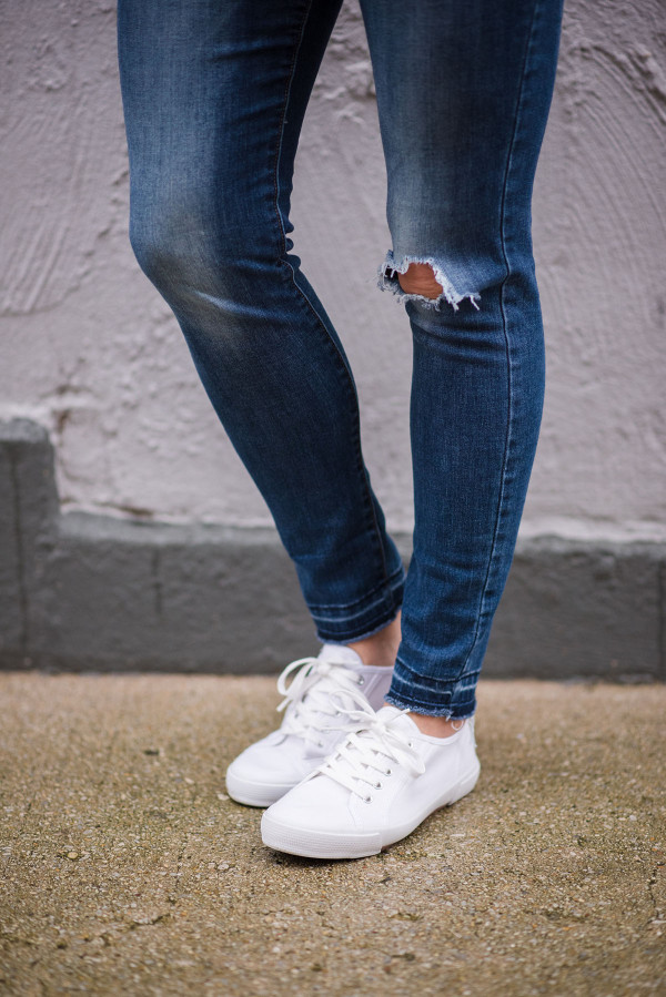 White Sneakers with Ripped Jeans