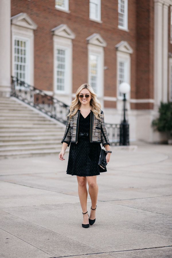 Bows & Sequins wearing a sparkly tweed jacket and velvet dress for a holiday party!