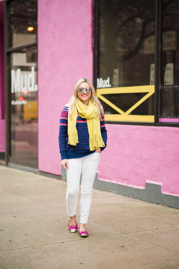 Bows & Sequins styling a pair of winter white corduroy pants with bright colors.