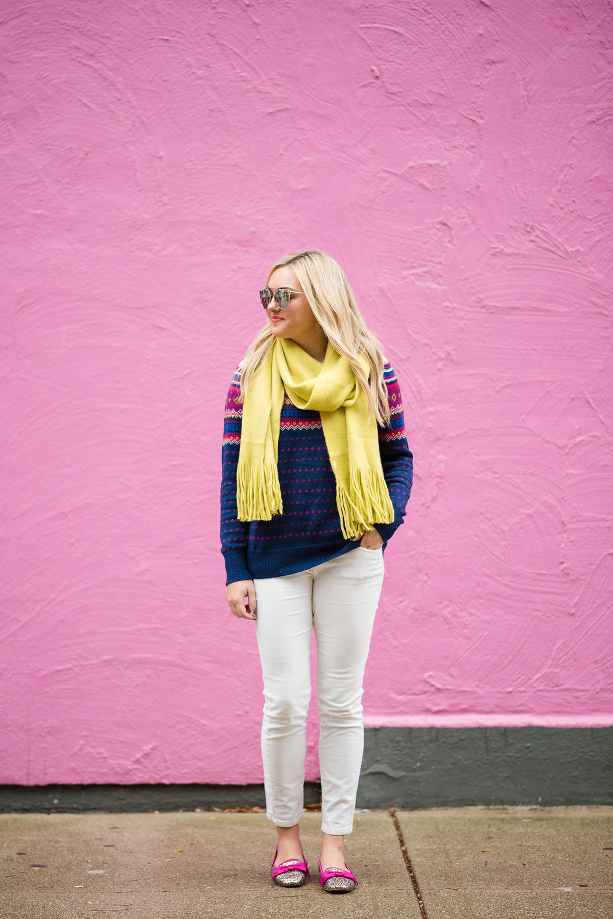 Bows & Sequins styling a pair of winter white corduroy pants with brightly color knits.