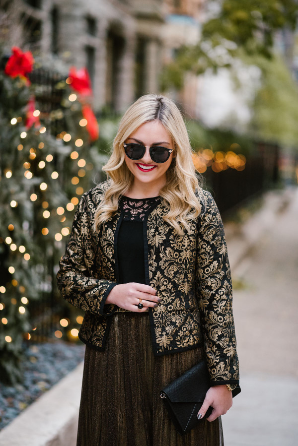 Bows & Sequins styling a black and gold jacquard jacket two different ways for holiday parties!