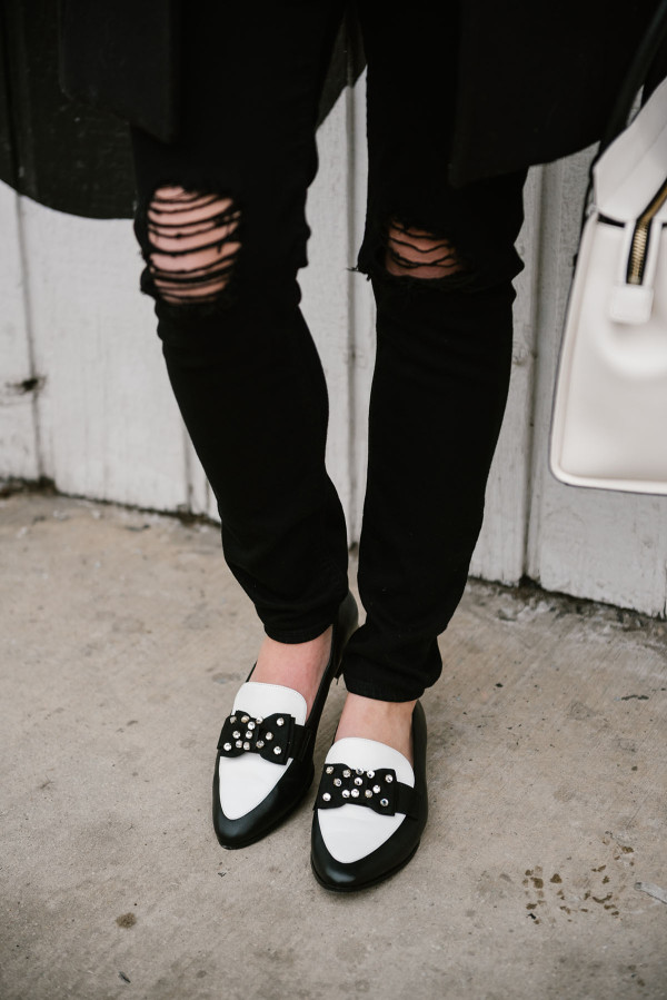 black-and-white-kate-spade-loafers-with-a-bow