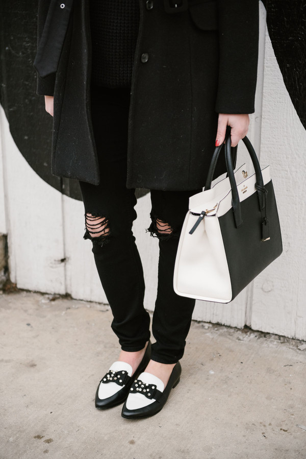 black-and-white-kate-spade-shoes-handbag
