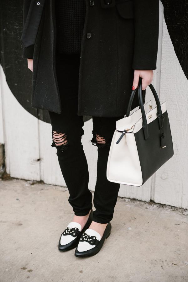 black-and-white-kate-spade-shoes-handbag