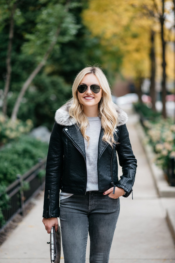 Bows & Sequins styling a black leather moto jacket with a faux fur removable collar in Chicago.