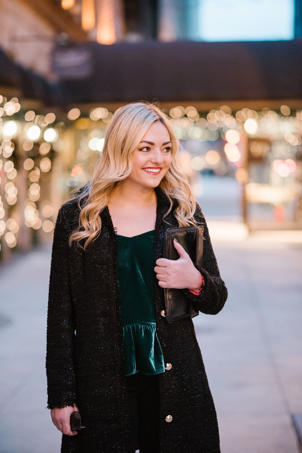 Bows & Sequins styling a green velvet top for the holidays.