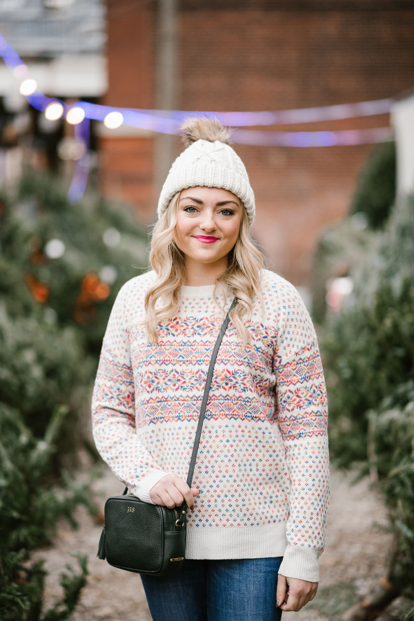 Bows & Sequins wearing a colorful J.Crew fairisle sweater and a cable-knit beanie to pick out a Christmas tree in Chicago.