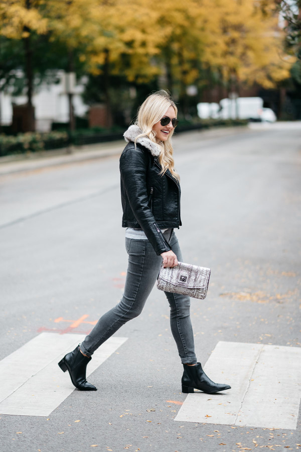 Bows & Sequins styling a pair of flat black pointed toe booties in Chicago.