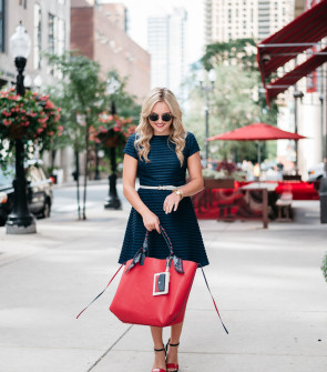 women's red white and blue outfit chicago