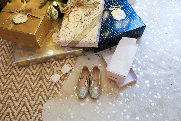 Bows & Sequins Christmas Gifts Under the Tree Glitter Shoes