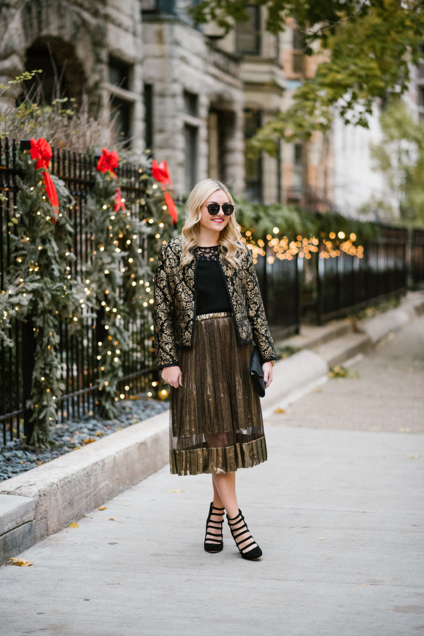 Bows & Sequins styling a shimmery gold midi skirt for a festive holiday party or New Years Eve.