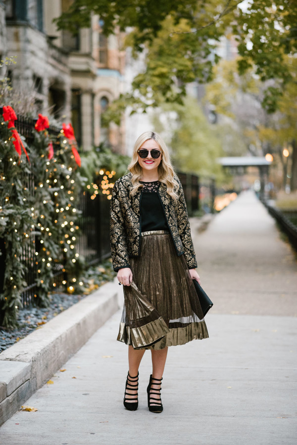 Bows & Sequins styling a shimmery gold skirt for a festive holiday party or New Years Eve.