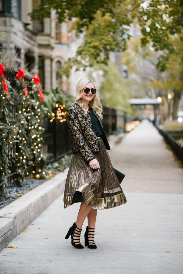 Bows & Sequins styling a shimmery gold midi skirt for a holiday party or New Years Eve.
