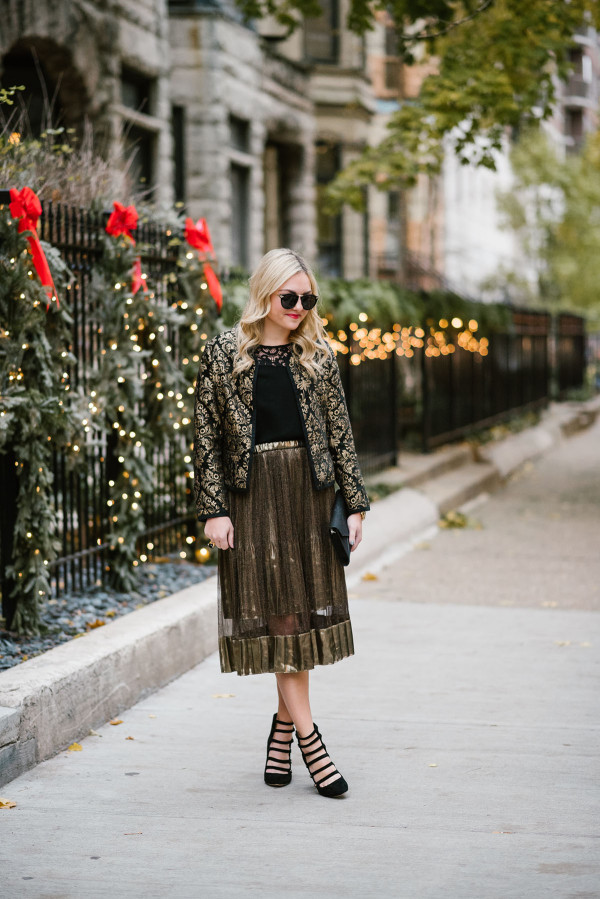 Bows & Sequins styling a shimmery gold midi skirt for a festive Christmas party or New Years Eve.