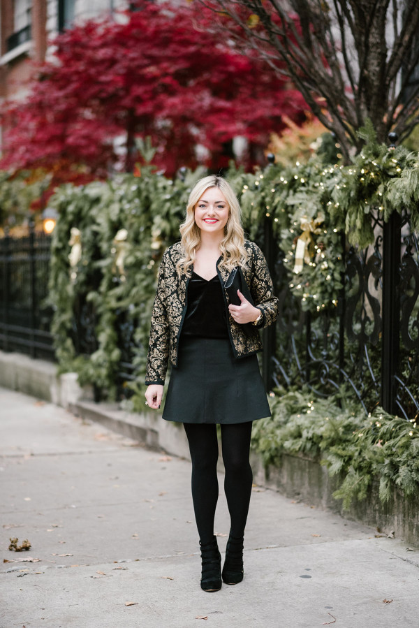 Bows & Sequins wearing a black and gold outfit perfect for a holiday party or New Years Eve.