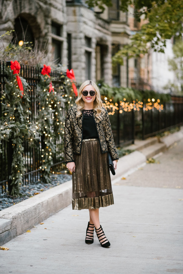 Bows & Sequins styling a full gold skirt for the holidays.