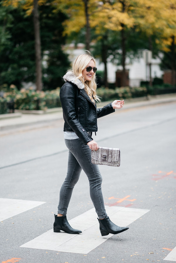 Bows & Sequins styling a monochromatic grey and black outfit in Chicago.