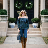 Off-the-Shoulder Plaid + OTK Boots