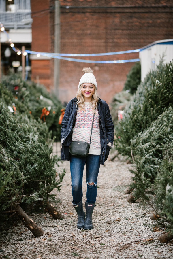 Bows & Sequins wearing a Barbour coat, a colorful Christmas sweater, Hunter boots, and a beanie to pick out a tree in the city.