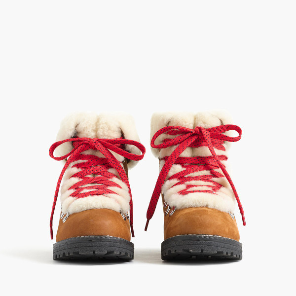 J.Crew Nordic Winter Boots: The cutest shearling snow boots with red laces!