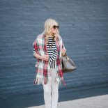 Striped Peplum + Plaid Scarf