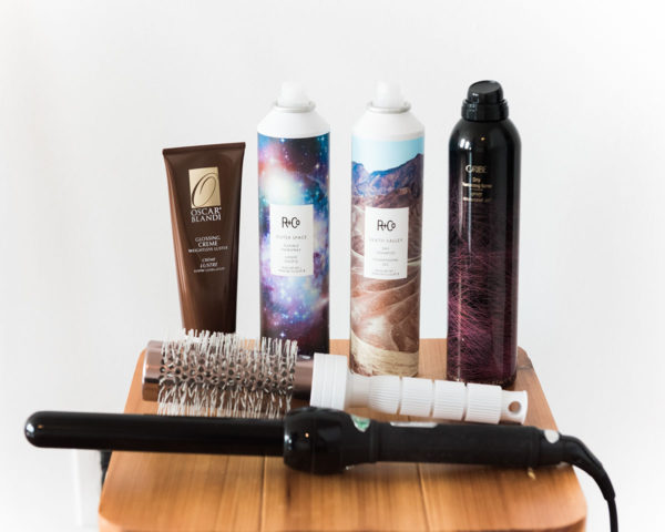 Bows & Sequins shares her favorite products for getting loose curls at home: Oribe Dry Texture Spray, R + Co Death Valley Dry Shampoo, R + Co Outer Space Hair Spray