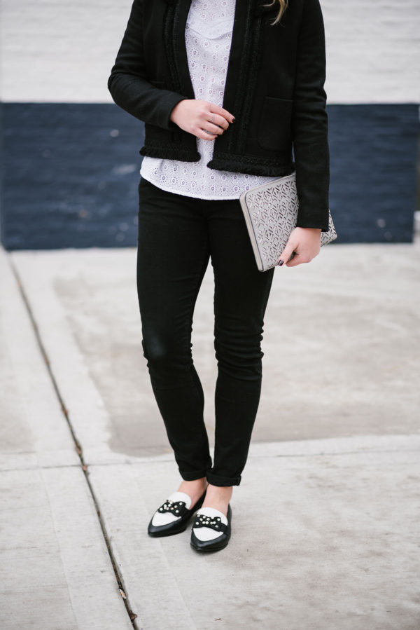 Bows & Sequins wearing black and white Kate Spade bow loafers in Chicago.