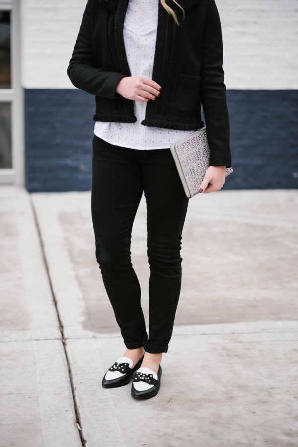 Bows & Sequins styling black and white bow loafers from Kate Spade.