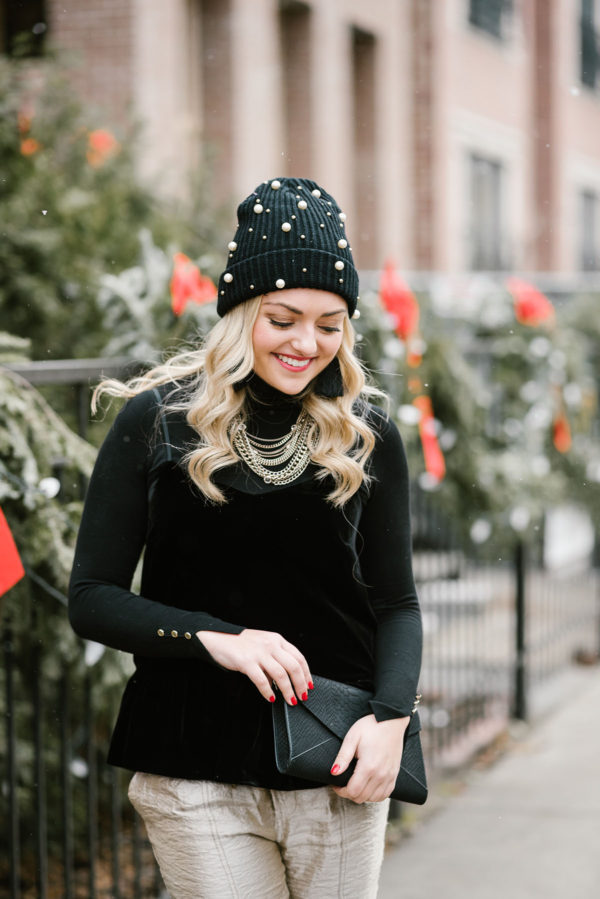 356664187cc Bows   Sequins wearing a black velvet cami with a black turtleneck layered  underneath. And as if you hadn t seen this beanie ...