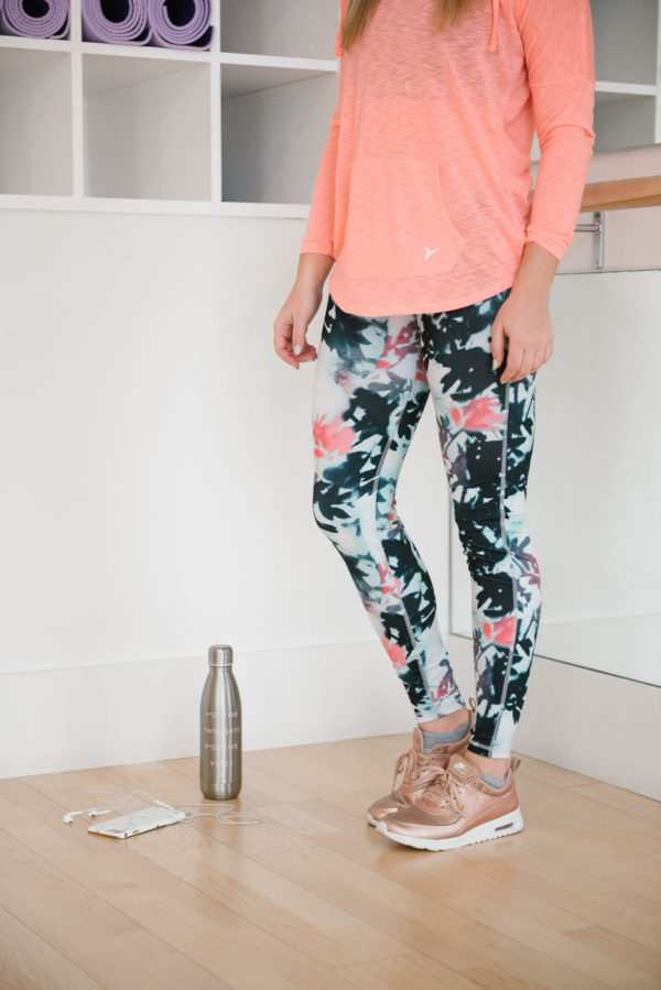 Bows & Sequins wearing printed workout leggings from Old Navy.