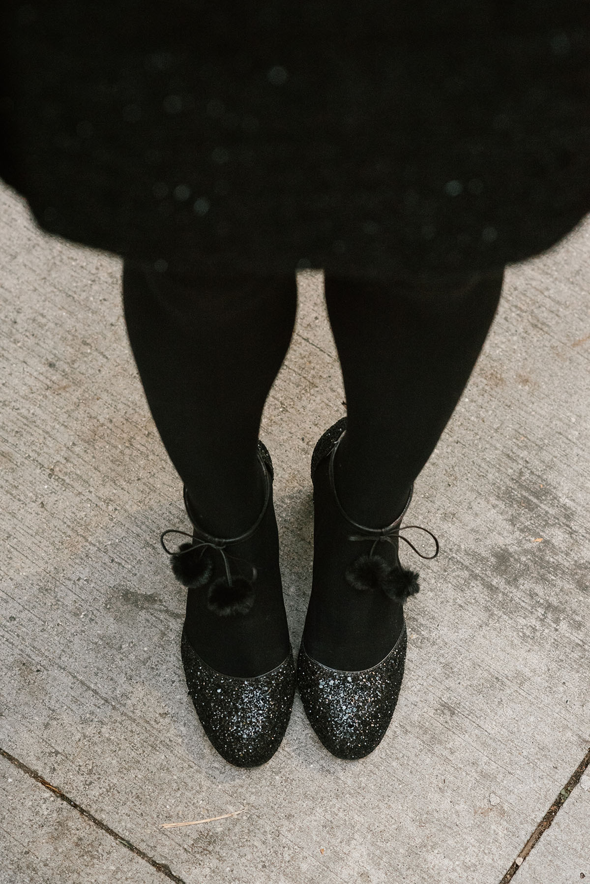 c8b8822b3851 Bows   Sequins wearing Kate Spade Black Glitter Abigail Pumps with Pom-Poms.