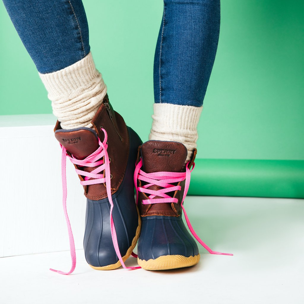Sperry Boots with Pink Laces