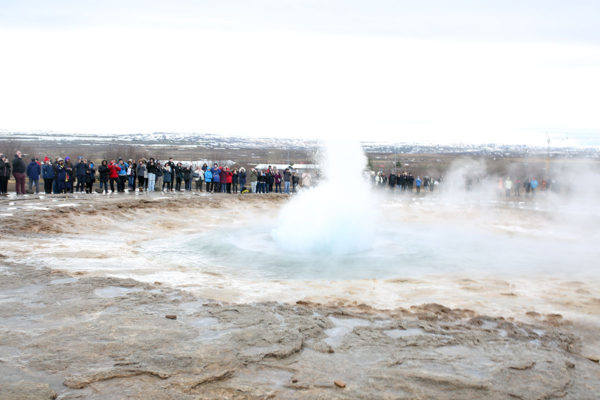 Bows & Sequins Iceland Travel Guide: Strokkur Geysir Eruption on Golden Circle Tour
