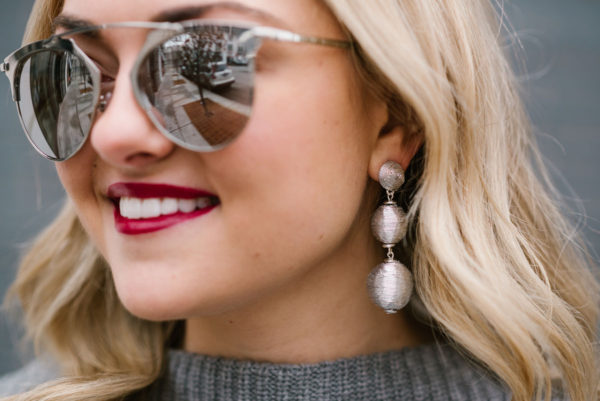 Bows & Sequins wearing BaubleBar Crispin Drop Earrings in Silver