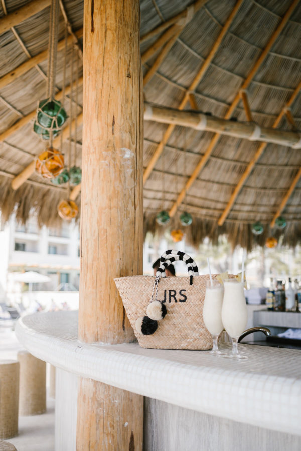 Bows & Sequins with Kayu Designs Pom-Pom tote at the Paridisus Hotel in Cabo.