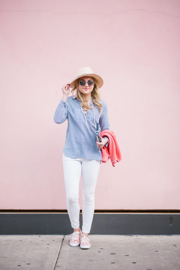 Bows & Sequins wearing white jeans for spring with a blue and white striped shirt.