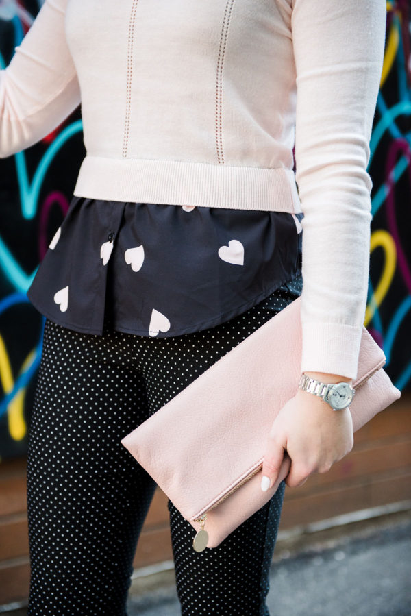 Bows & Sequins print mixing with hearts and polka dots.