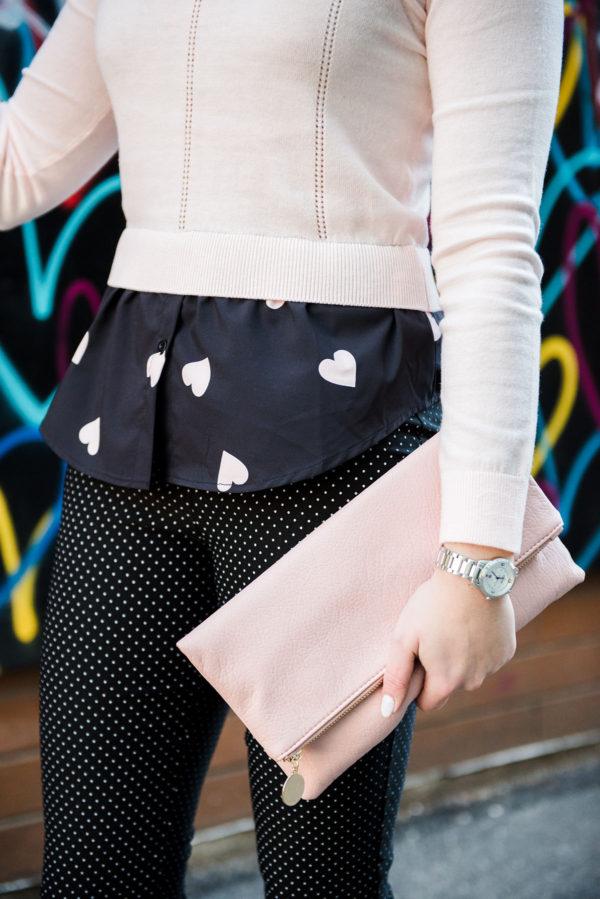 Bows & Sequins print mixing with hearts and polka dots.