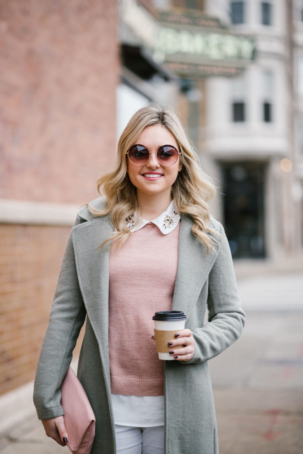 Bows & Sequins wearing blush pink sweater and mint jacket.