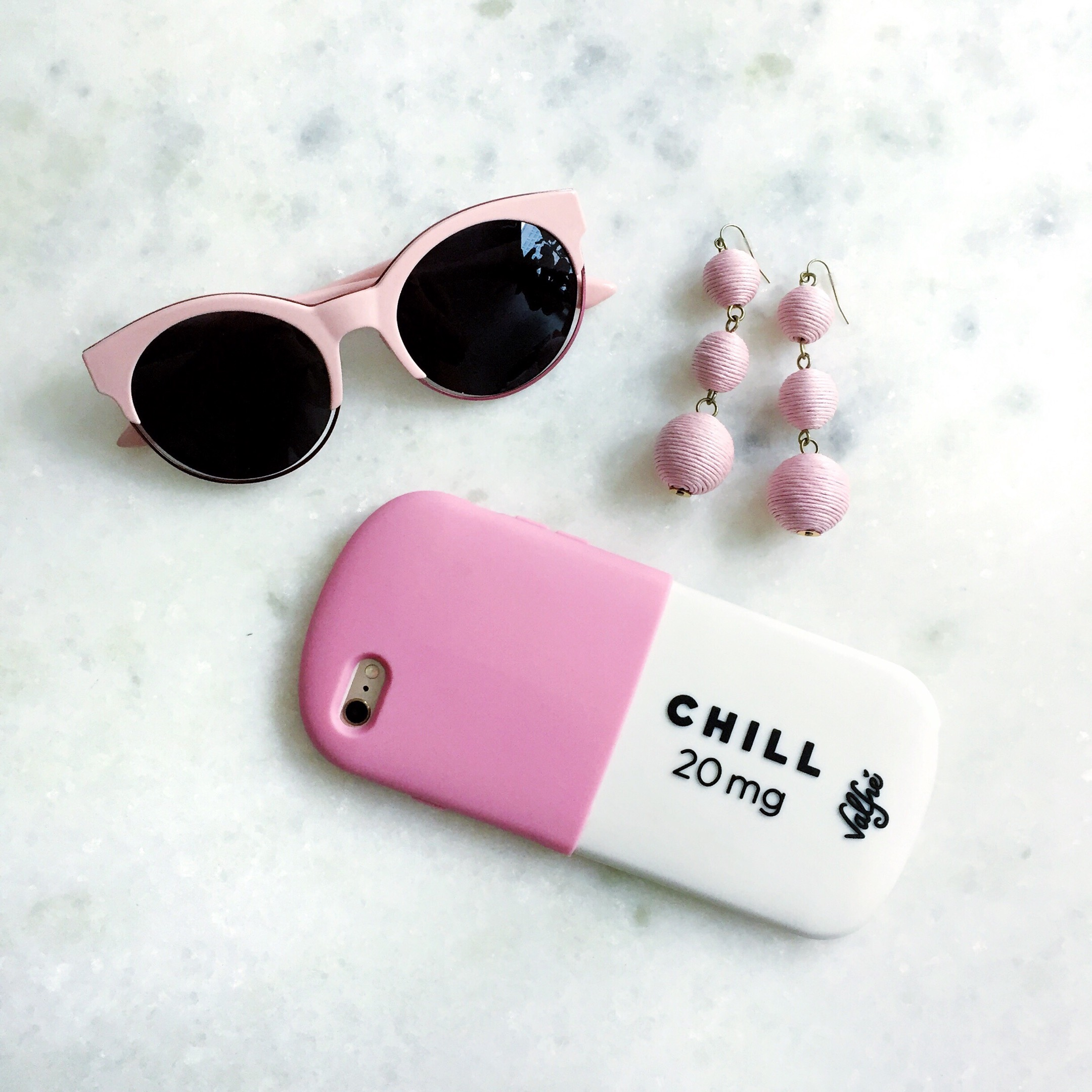 Beat the Winter Blues with Pink Sunglasses, BaubleBar Crispin Drops, and a Chill Pill Phone Case