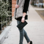 Winter Layers: Velvet Blazer + Faux Fur Vest